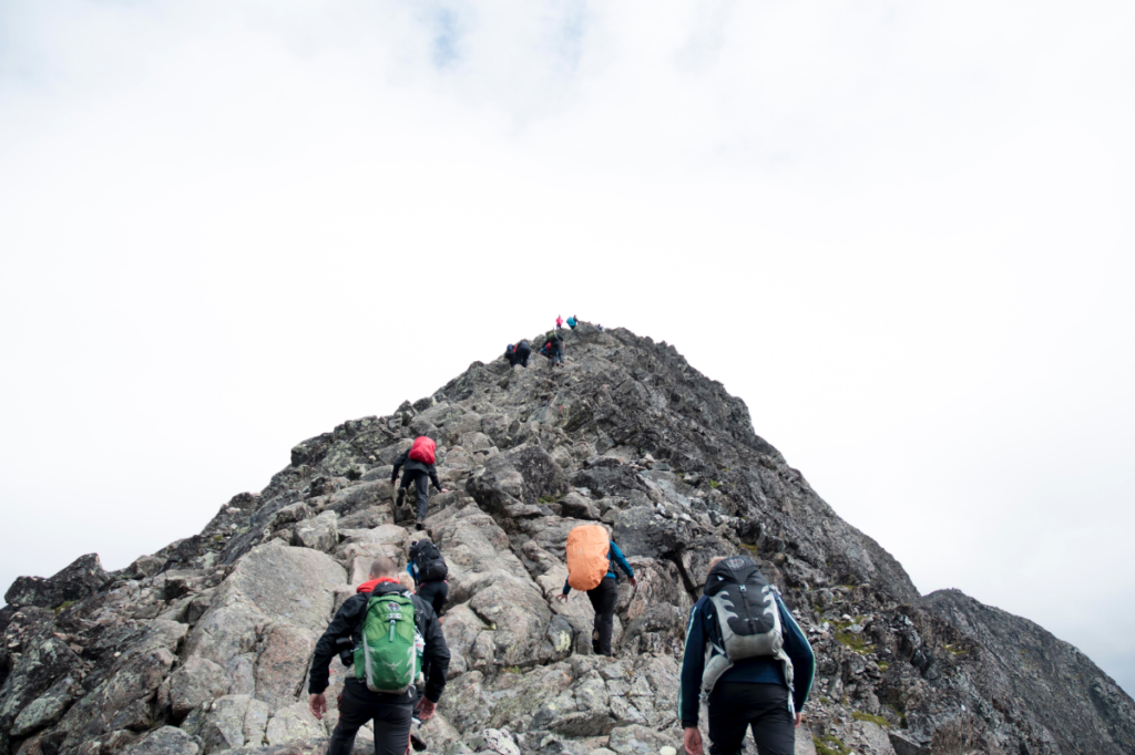 People climbing mountain for hiking