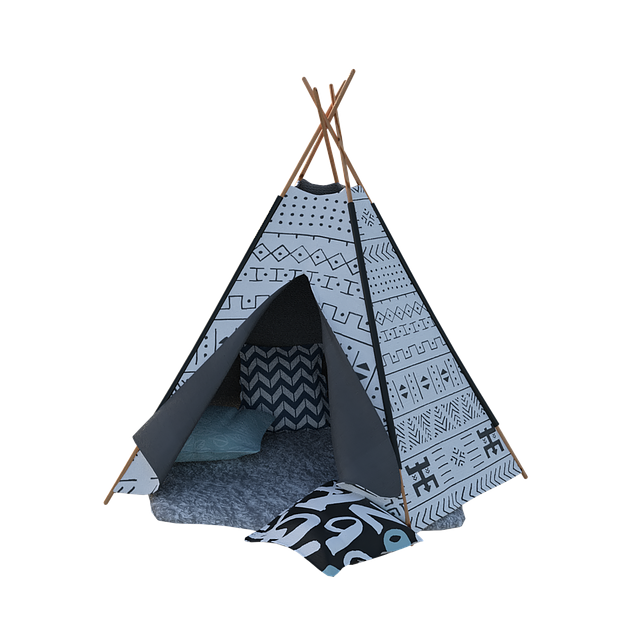 Blue and white teepee tent