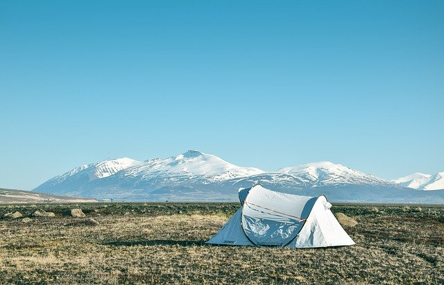 Tent in an open space