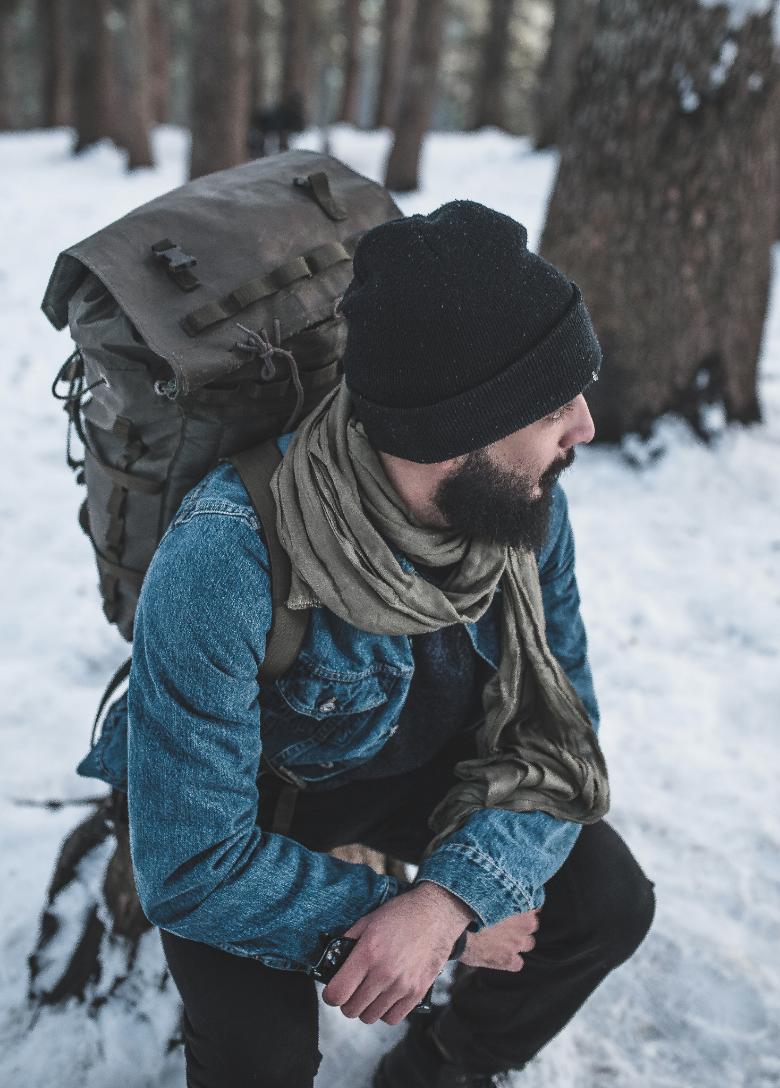A man enjoying winter hiking